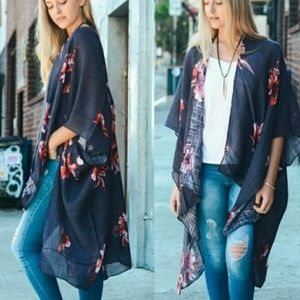 Grey Floral Print Kimono - One Size Fits Most